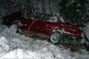 Kvinnan var ensam i bilen och klarade sig utan allvarligare skador vid singelolyckan.