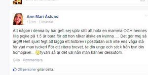 En skärmdump med Ann Marie Åslunds inlägg om hotbrevet som en familj i Lillhärdal upptäckte i sin brevlåda på i tisdags.