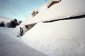 Vi skottade och skottade för att ta oss ut och in. Flera tak rasade in. Minst 20 takvana arbetslösa fick jobb som snöskottare.