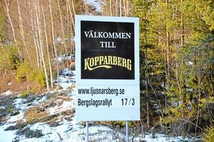 Ingen slogan just nu. I Kopparberg åker man istället snålskuts på bryggeriets välkända varumärke på sin välkomstskylt vid riksvägen.
