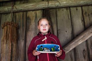Julia Elfstrand med sitt akvarium som hon tillverkat av äggkartong, sugrör, knäckformar och hållare till brustabletter för kalvar.