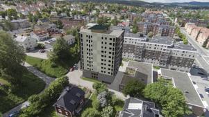 Så här är det tänkt att höghuset med de 33 lägenheterna vid Erstagatan ska se ut om ett och ett halvt år.