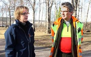 En inventering visar att 50 träd måsta bort och 130 ska beskäras. Karin Elofsson, kyrkogårdsföreståndare och arboristen Harald Kratschmer, Falun. Foto: Curt Kvicker