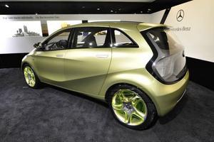 Mercedes Blue Zero E-cell är en ren elbil som bygger på A-klass.                                                                   Foto: Stefan Nilsson