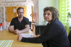Rickard Mattsson, ordförande i Kommunal och Nancy Fridh, huvudskyddsombud för socialförvaltningen och utbildningsförvaltningen.