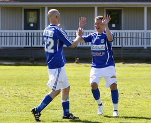 Jubel i Delsbo sedan Markus Pålsson tryckt in 3–0.