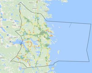 Bilden visar Telenors 3G-nät i Söderhamns kommun.Källa: tackningskollen.se