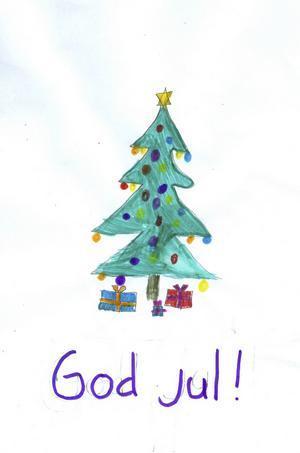 Emma 8år från Bergby, har målat en fin julgran och julklappar under. God Jul!