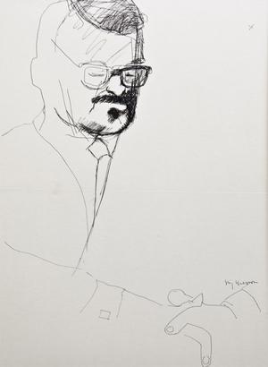 """Stig Claessons porträtt av författaren Pär Rådström, Niklas Rådströms far. I början av 1980-talet kom Stig Claessons bok om vänskapen med författarkollegan, """"Om vänskap funnes"""". Ur """"Sagor för barn"""", som sändes i tv. """"Traktorsviten"""" från 1994."""