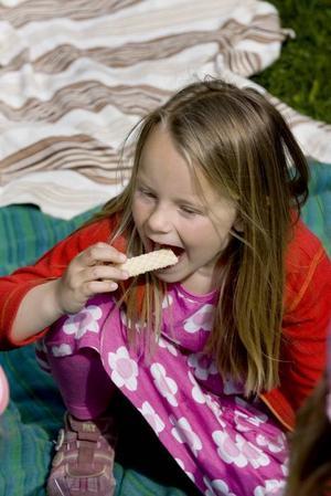 Rebecca Gyllner, sex år, tycker att det var roligt att sätta ner lökarna. Nu är hon stolt över resultatet och firar med kex.