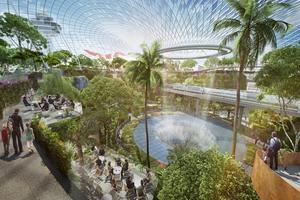 Ett vattenfall och en trädgård kommer att möta resenärerna på flygplatsen.