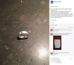 Adam Lundgrens Facebook-inlägg som ledde till att Malin Nordkvist och hennes man kunde få tillbaka sin vigselring.