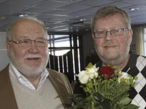 Prisutdelare Karl Gösta Erickson och eldsjälen Janne Moréus t h.