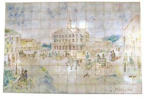 Maggie Wibom, Centralkafeets väggutsmyckning av keramikplattor, utförd 1945.