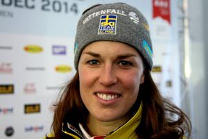 Maria Pietilä-Holmner var rörd till tårar när  det var klart att  hon hade lördagens snabbaste tid.