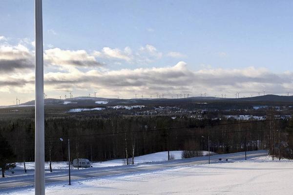 Vindkraftparken som den kommer att se ut från Nordanhå i Lillhärdal.