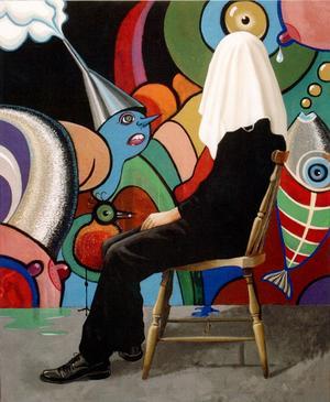 Under skynket. Målning av Pär Kock på Galleri Pär Kock.