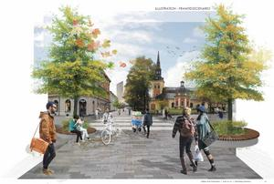 Det här är en visionsbild ur Södertälje kommuns konceptstudie för hur centrum ska förvandlas med ett nytt gångstråk mot Campus Telge och kommande trekantiga skyskrapan Strykjärnet som skymtar i bakgrunden.