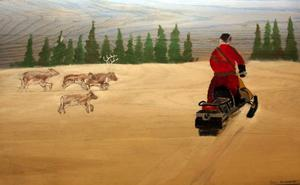 Inspirerad av det samiska  livet har Emil Runsäter i klass 9 på Cederbergskolan i Föllinge målat denna tavla.