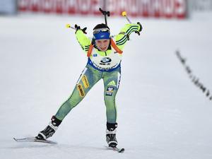 Anna Magnusson körde hem sjätteplatsen i slutet av stafetten.