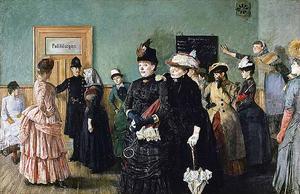 Den norske konstnären Christian Krogh (1852–1925) målade denna bild av  prostituerade i polisläkarens väntrum i Kristiania (Oslo) på 1880-talet. Originalet finns på Nasjonalmuseet i Oslo.