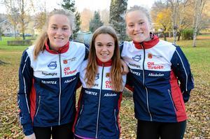 Nya i klubben. Josefin Tjernlund, Johanna Henriksson och Ellinor Tjernlund ser framemot att tävla i OK Tisaren.