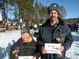 Vinnare bland barnen blev Henrik Hamberg och bland vuxna Herje Andersson.                  Foto: Emil Andersson