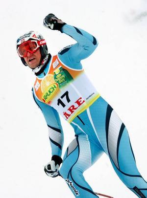 Aksel Lund Svindal vann störtloppet under VM i Åre 2007. I går var han snabbast i backen igen.