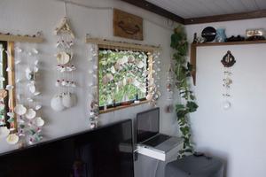 Snäckor hänger i varje fönster. De är köpta i Thailand där familjen var på semester i vintras.