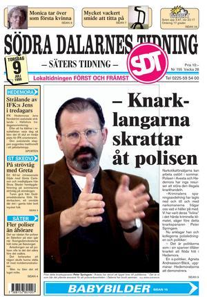 Peter Springare på ettan av Södra Dalarnes Tidning den 9 juli 1998.