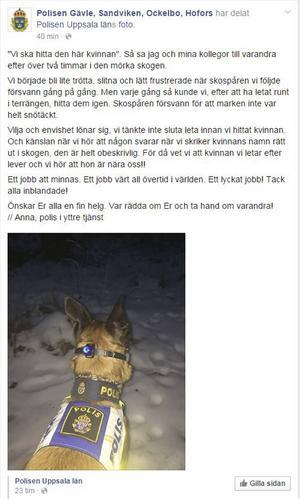 Polisen i Gävleborgs Facebooksida.
