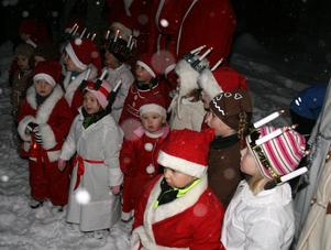 Flera lucior tågade ut i den fina vinterskogen och sjöng för föräldrar och andra som sökt sig till Dagisbyn.
