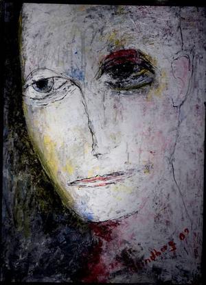 """""""Tanken ilar"""".  Sorgset ansikte ur Åke Lindbergs katalog av gestalter på Galleri Majoo."""