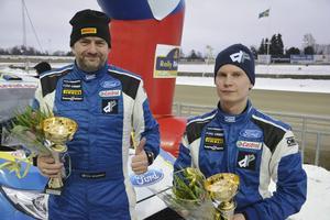 Daniel Röjsel, till höger, och Nicklas Edvardsson fixade en andraplats i klassen Junior-SM Otrimmat.