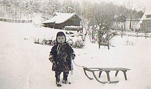 Dagen efter blev kälken överkörd19 41. kall vinter. Jag är snart 4 år och åker varje dag med min kälke.Det var kanske så jag präglades att tycka om vintrar.Men dagen efter bilden togs kom en lastbil och backade på kälken och den blev förstördJag hade inte tagit bort kälken från vägen.Ett av mina tidigaste minnen.