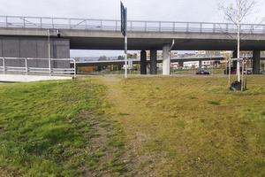 Signaturen Chroonbloom har tagit en bild på den stig som bildats vid norra brofästet och där många korsar på- och avfarten till motorvägen.