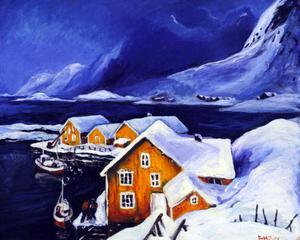 Holmen vinter, akrylmålning 2005.