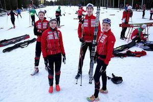 Jacob Stark, Jens Selahn, Filippa Lindman och Linnea Stark är några av Stockviksåkarna som tävlar under JSM på Södra Berget.