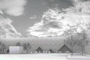 Arenabolagets förslag på bandyhall i Bollnäs, ritad av Gert Wingårdh.