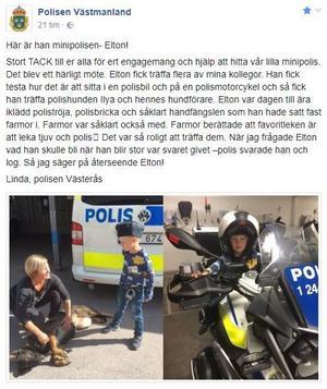 Hela inlägget. Foto: Polisen Västmanland