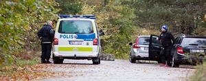 Poliser kom snabbt på plats och sökte med hund i området.