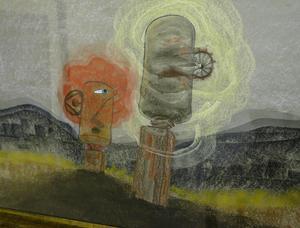 Olle Jonssons jätteskulpturer återfinns också som motiv i hans tavlor.