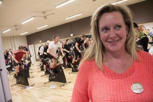 Evamarie Uppman passade på att cykla och samtidigt ge pengar.