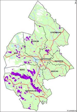 Energimyndigheten har i ett förslag pekat ut områden som är riksintresse för vindkraft.  På länskartan markeras de områdena med lila färg.