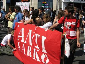 Demonstrationer mot Nicolas Sarkozy 2007.