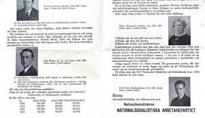 Nationalsocialisternas riksdagskandidater: Walles själv tituleras fil lic och lärare. Kvinnan till höger är advokat.