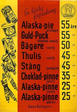 Prislista från 1948 med åtta olika sorters glass.