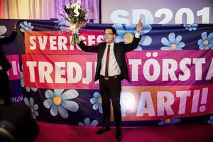Sverigedemokraterna fick över 800000 röster i valet till riksdagen. På bilden SD:s partiledare Jimmie Åkesson på partiets valvaka.