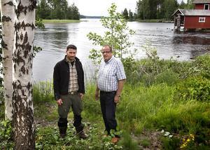 Johan Andreasson, projektledare för Fiskeplan Hudiksvalls kommun och Hans Rohlin, ägarrepresentant från Fortum.