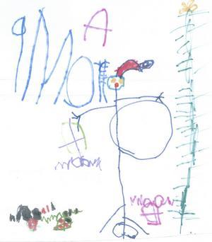 Moa 3,5år från Hofors har ritat tomten med tjock mage, julgran och paket. God Jul!